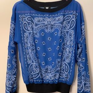 W by Worth Paisley Blue Pullover